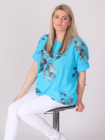 Flower Linen Top with Necklace - Turquoise