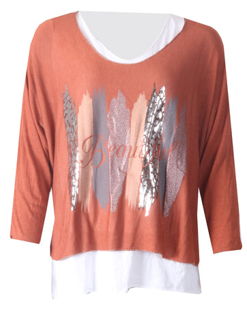 2 Pc Beautiful Top with Necklace - Burnt Orange