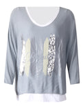 2 Pc Beautiful Top with Necklace - Light Grey