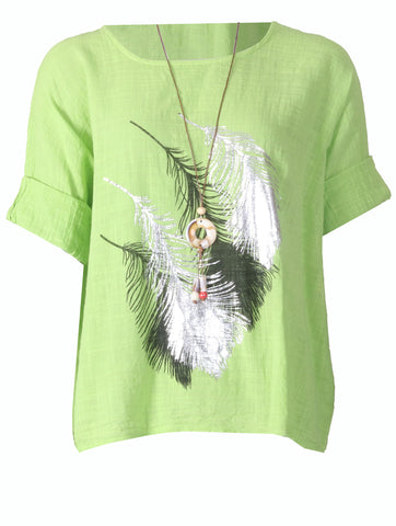 Feather Top with Necklace - Lime