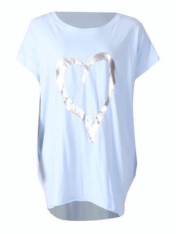 Love Heart Top with Pockets - Baby Blue