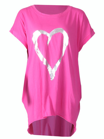 Love Heart Top with Pockets - Strong Pink