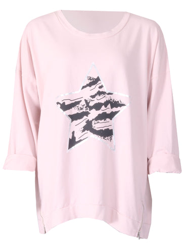Longline Star Zip Top - Baby Pink