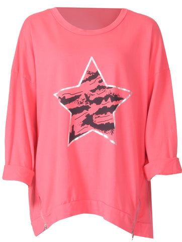 Longline Star Zip Top - Coral