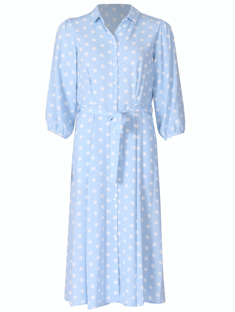 Tina Dress - Blue Big Spot