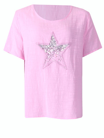 Diamonte Star Top - Baby Pink