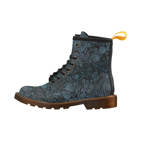 3D Ornaments Psychedelic Blue High Grade PU Leather Martin Boots For Women