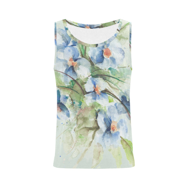 Fantasy Floral Blue Original Watercolor Tank Top for Women
