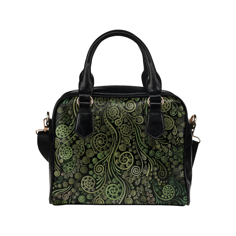 3D Ornaments Fantasy Tree  Green on Black Shoulder Handbag