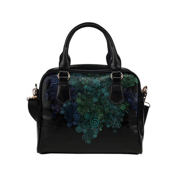 Turquoise Psychedelic Rose Shoulder Handbag
