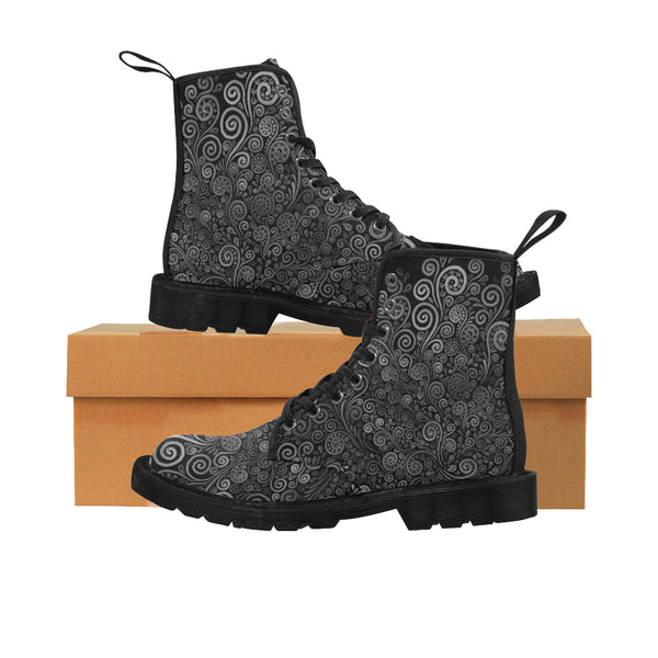 3D Psychedelic Black and White Rose Martin Boots for Women - Black