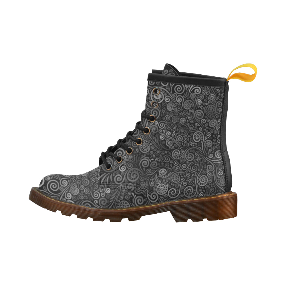 3D Black and White Psychedelic Rose High Grade PU Leather Martin Boots For Women