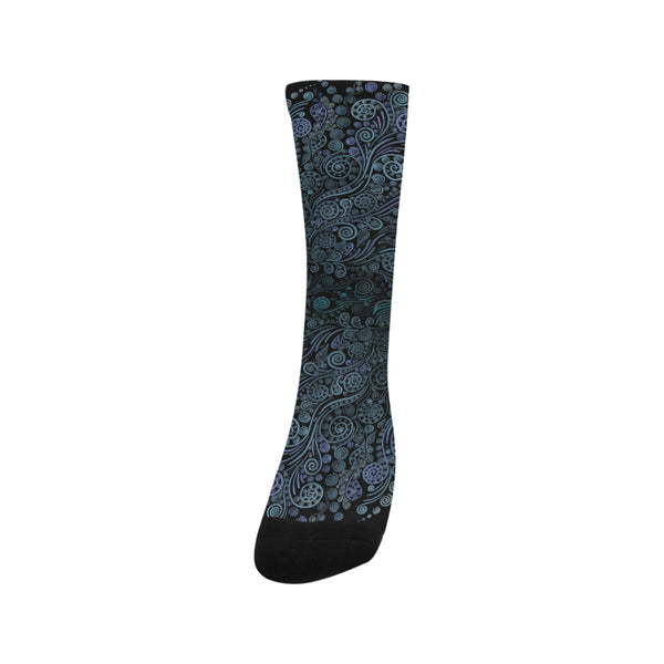 3D Ornaments Psychedelic Blue Trouser Socks