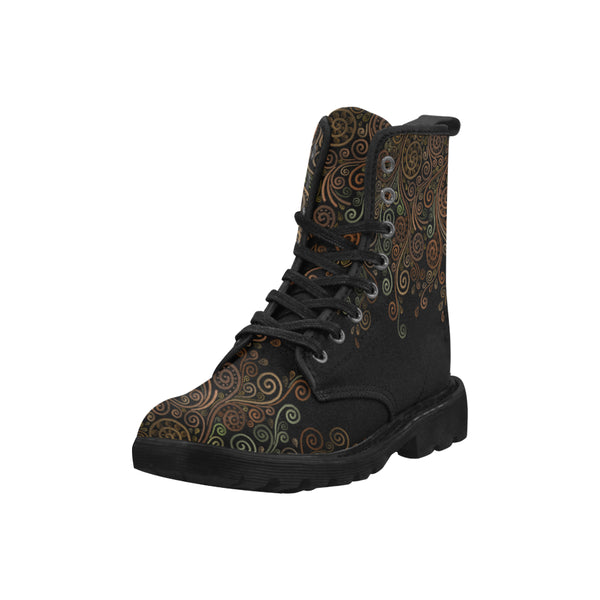 3D Psychedelic Ornate Swirl Martin Boots for Women - Black