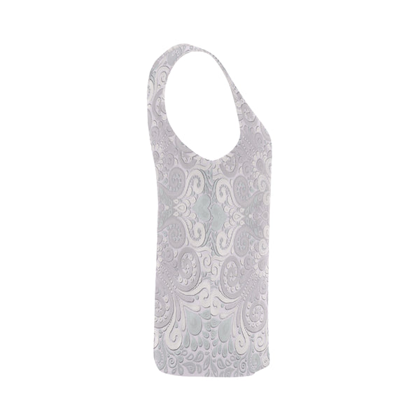 Powder Pink Ornate Watercolor Tank Top for Women
