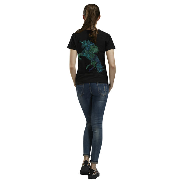3D Psychedelic Unicorn Blue and Green T-Shirt for Women