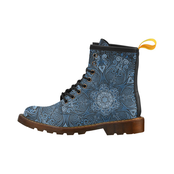 Blue Mandala Ornate Pattern 3D Effect High Grade PU Leather Martin Boots For Women