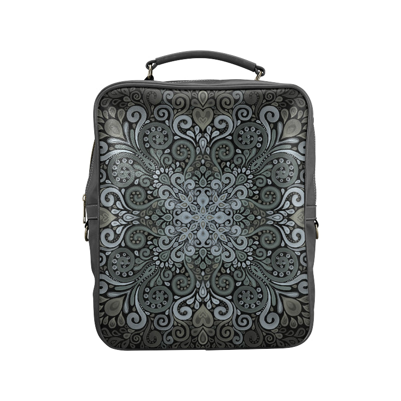 Vintage Ornate Watercolor in Dark Green Square Backpack