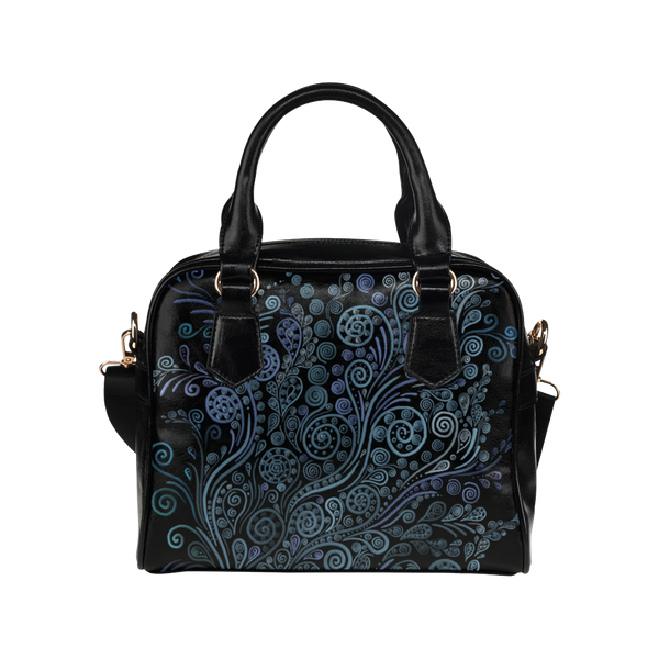 3D Ornaments Psychedelic Blue Shoulder Handbag