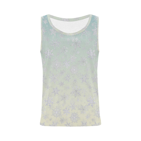 Frosty Day Snowflakes on Misty Sky Tank Top for Women
