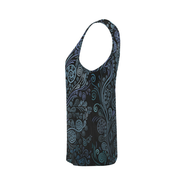 3D Psychedelic Ornaments Blue All Over Print Tank Top for Women