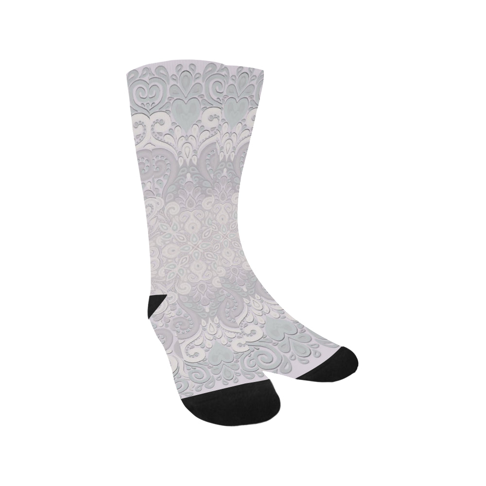 Powder Pink Ornate Watercolor Trouser Socks