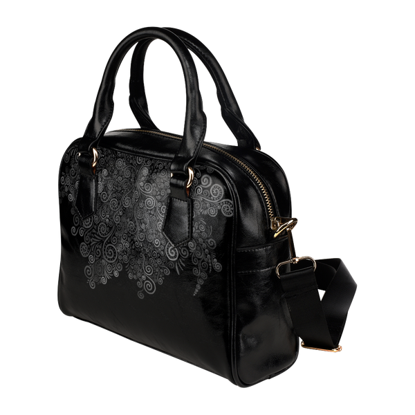Black and White Rose Shoulder Handbag