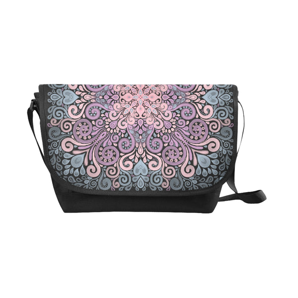 Boho Ornate Watercolor in Pink Purple and Blue Messenger Bag