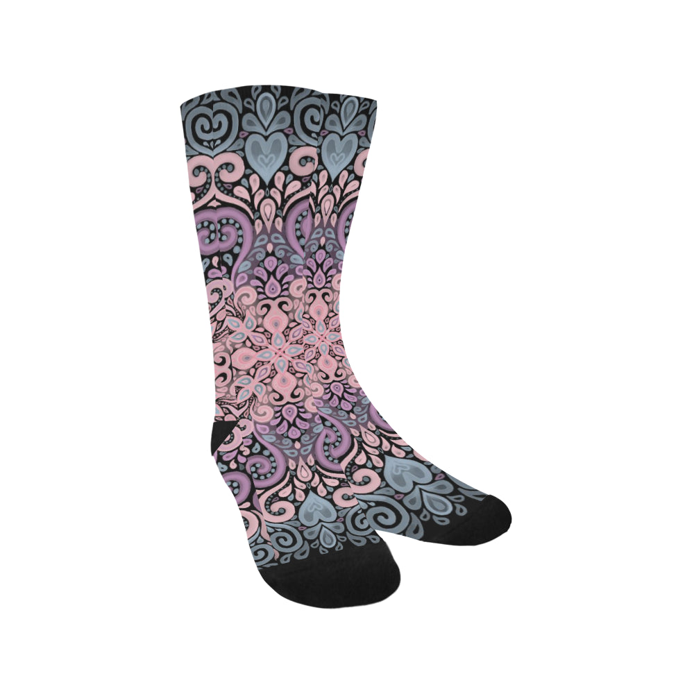 Boho Ornate Watercolor in Pink Purple and Blue Trouser Socks