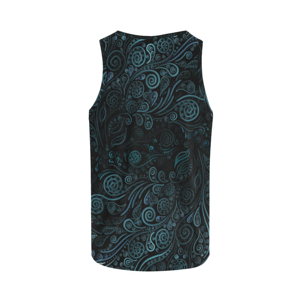 3D Psychedelic Ornaments Blue Tank Top for Women