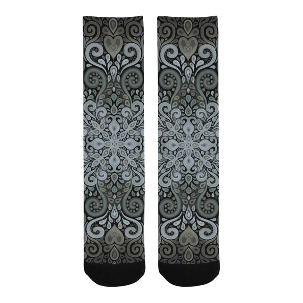 Vintage Ornate Watercolor Green Trouser Socks