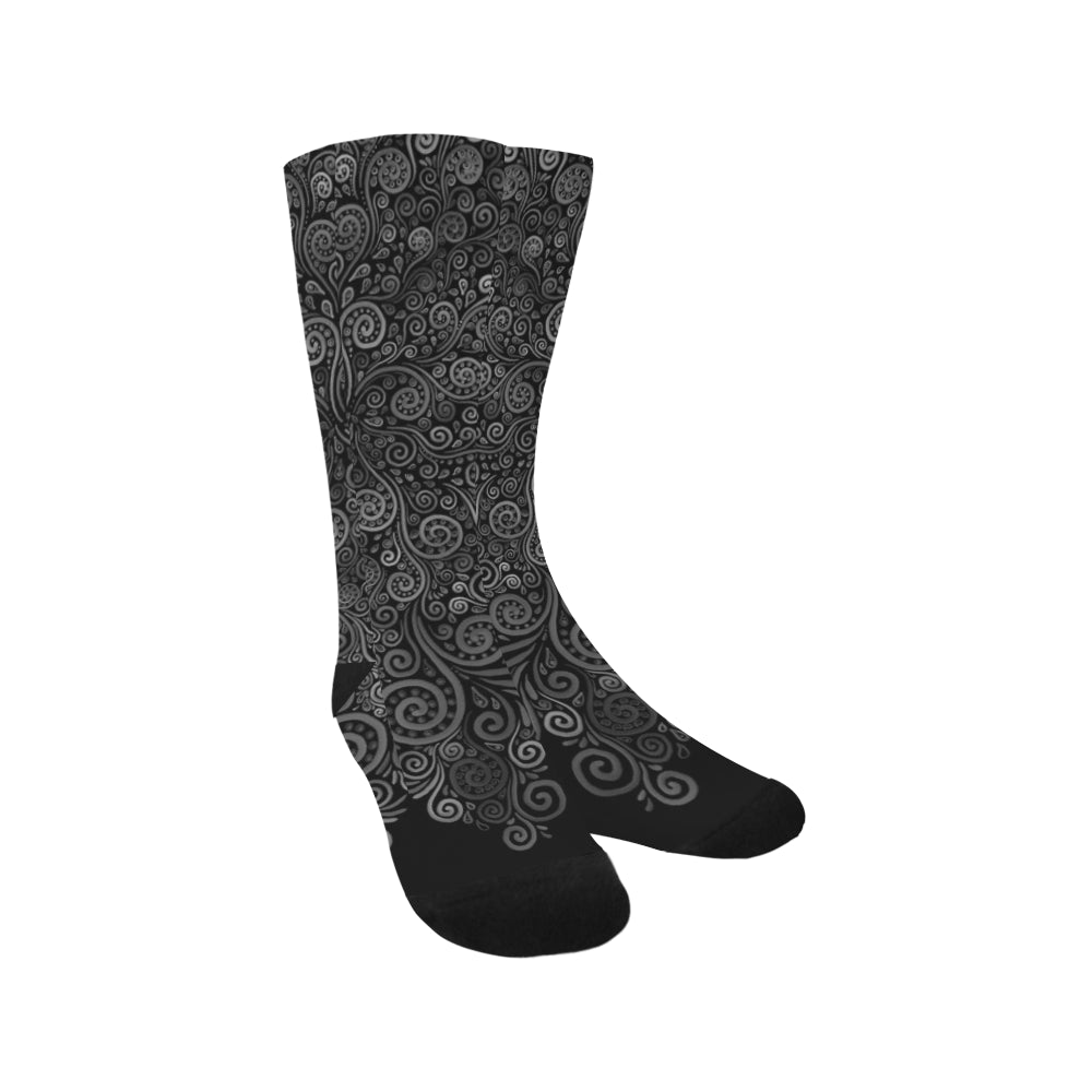 3D Black and White Rose Trouser Socks