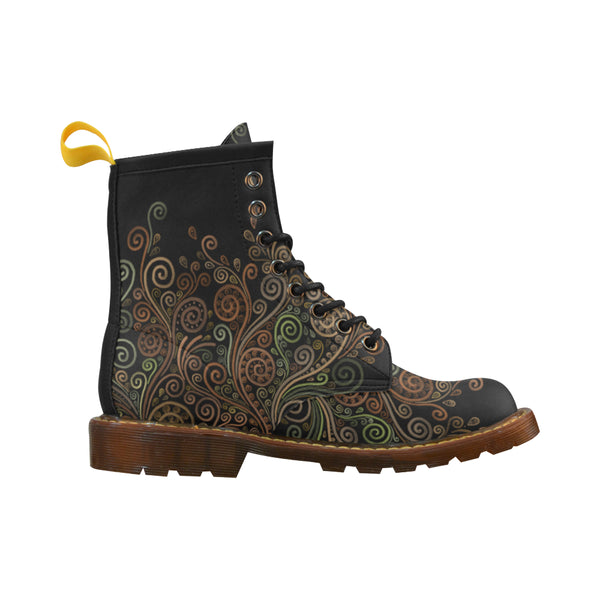 3D Psychedelic Ornate Swirl Grade PU Leather Martin Boots For Women