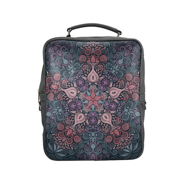 Baroque Garden Watercolor Pastel Mandala Square Backpack