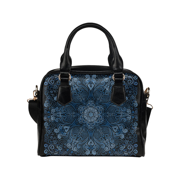 Blue Mandala Ornate Pattern 3D Effect Shoulder Handbag