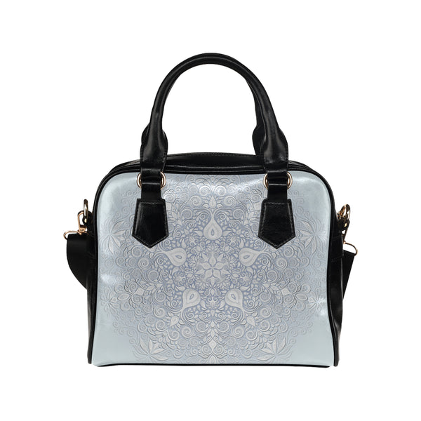 White and Blue Watercolor Mandala Pattern Shoulder Handbag