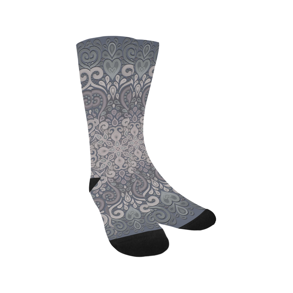 Vintage Ornate Gray-Green Powder Shades Trouser Socks