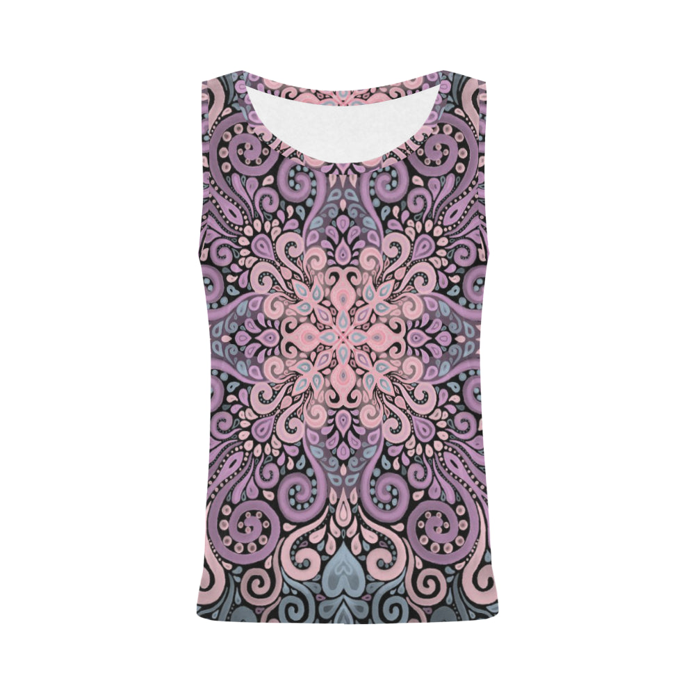 Boho Ornate Watercolor in Pink Purple and Blue Tank Top for Women