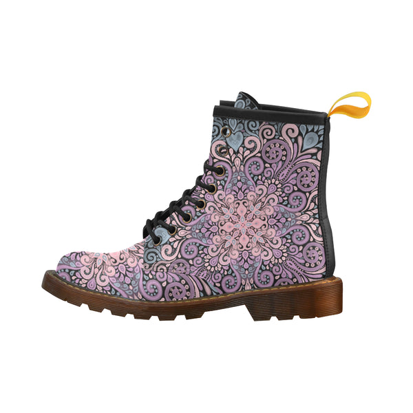 Boho Ornate Watercolor in Pink Purple and Blue High Grade PU Leather Martin Boots For Women