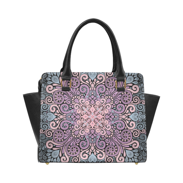 Boho Ornate Watercolor in Pink Purple and Blue Classic Shoulder Handbag