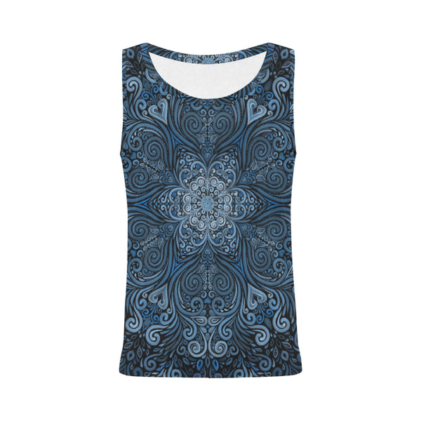 Blue Mandala Ornate Pattern 3D Effect Tank Top for Women