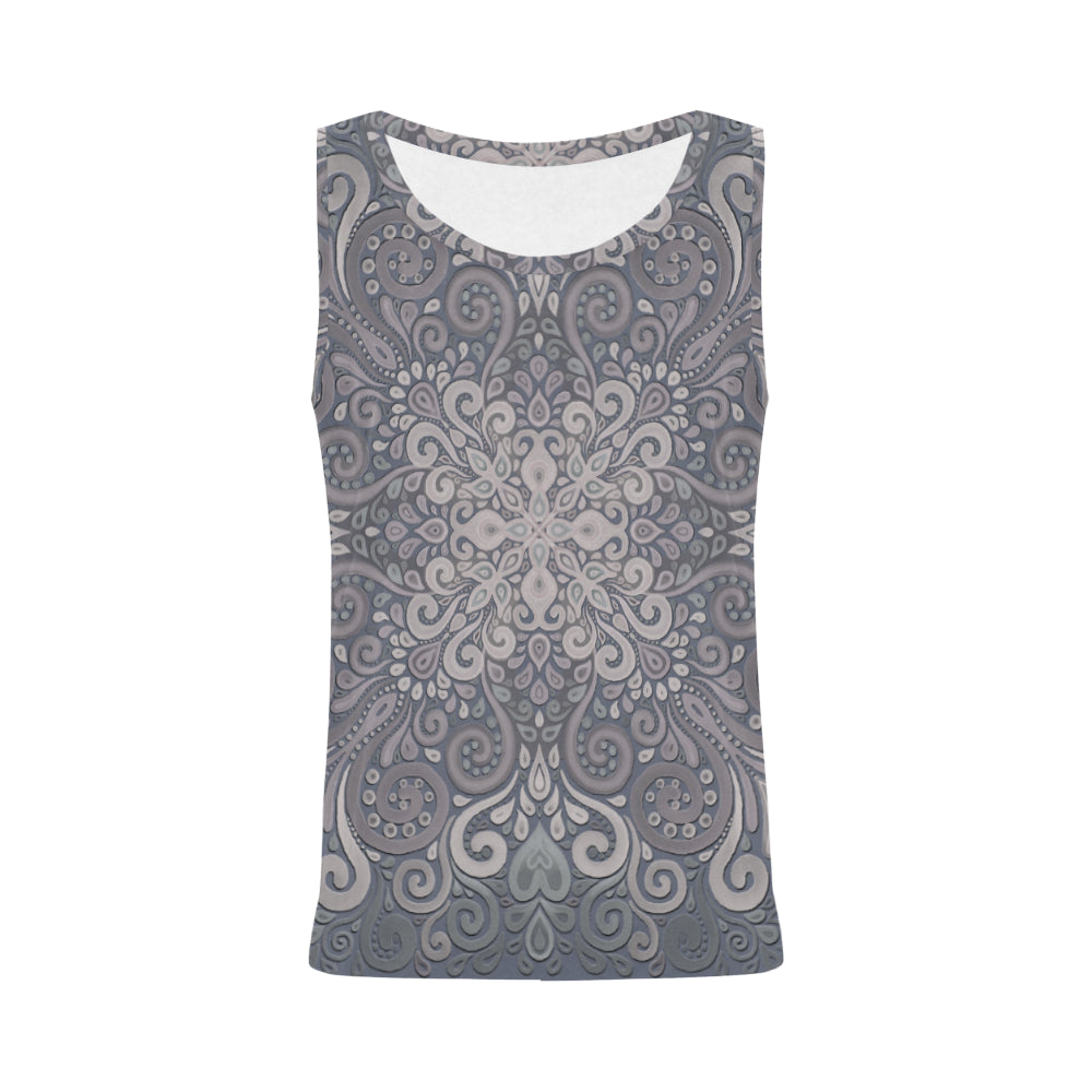 Vintage Ornate Gray-Green Powder Shades Tank Top for Women