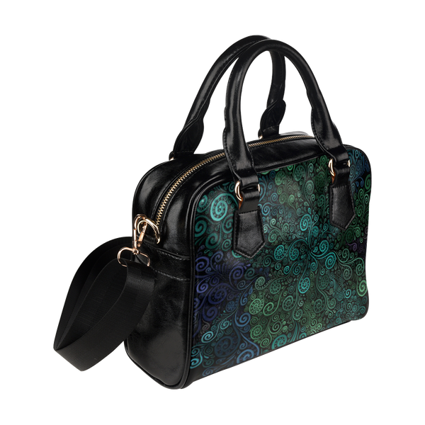 Turquoise 3D Rose Shoulder Handbag