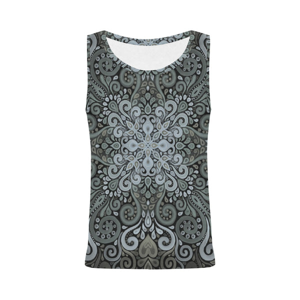 Vintage Ornate Watercolor in Dark Green Tank Top for Women