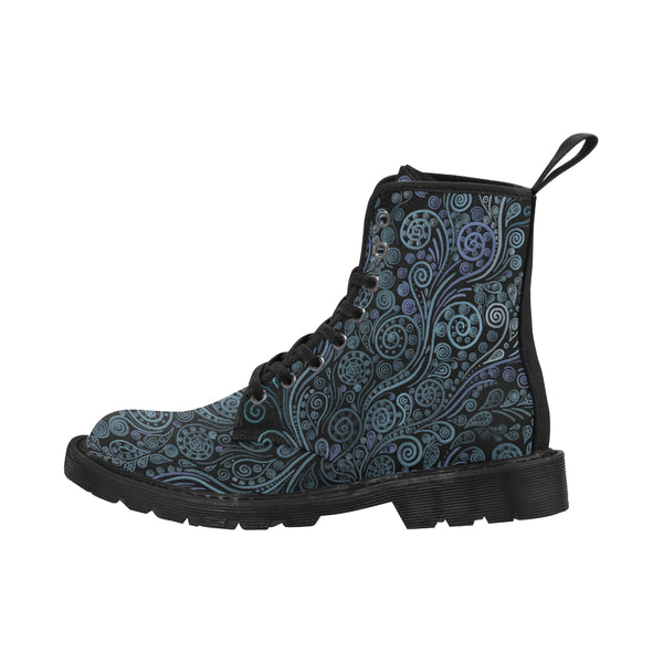 3D Psychedelic Ornaments Blue Martin Boots for Women - Black