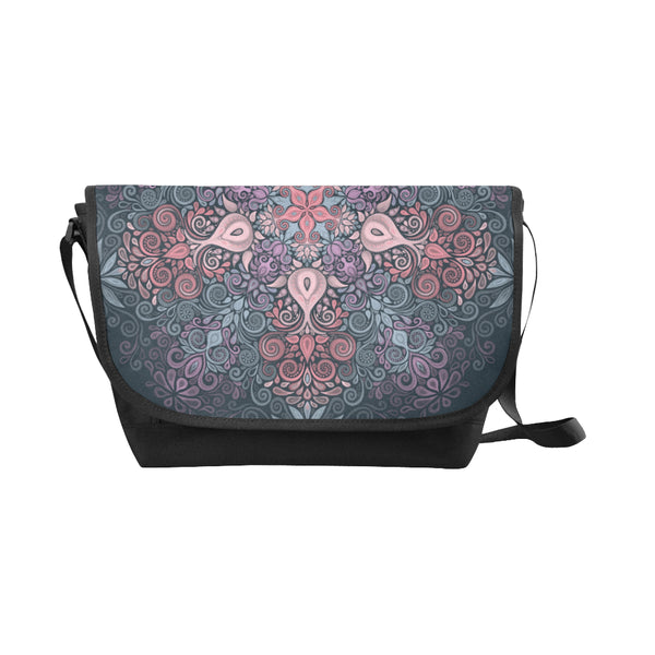 Baroque Garden Watercolor Mandala Messenger Bag