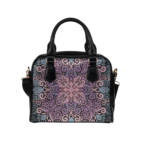 Boho Ornate Watercolor in Pink Purple and Blue Shoulder Handbag