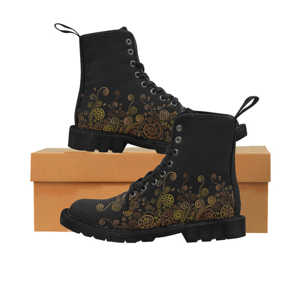 3D Psychedelic Ornate Swirl Black Martin Boots for Women