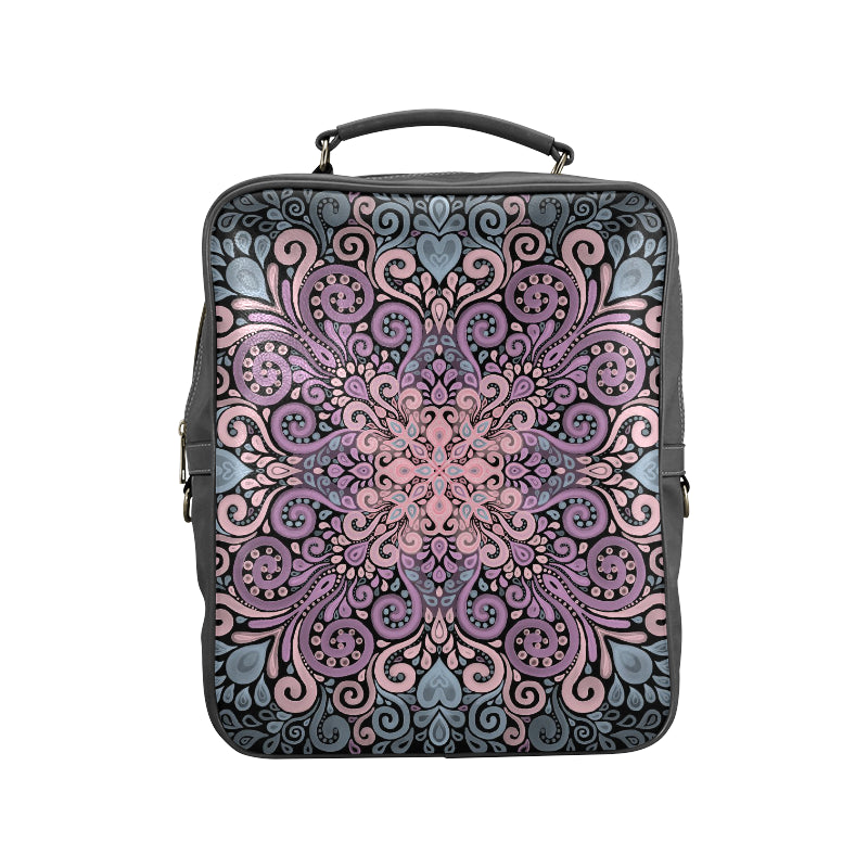 Boho Ornate Watercolor in Pink Purple and Blue Square Backpack