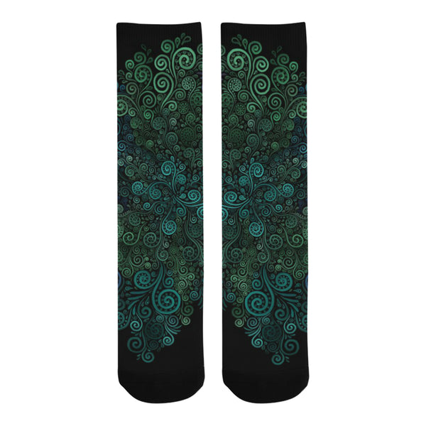 3D Turquoise Psychedelic Rose Trouser Socks